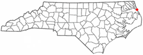 Location of Kitty Hawk, North Carolina