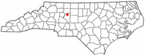 Location of Midway shown within North Carolina