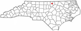 Location of Oxford, North Carolina