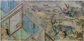 A house, trees with white blossoms and people.