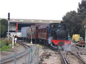 One of the museum's steam engines hauling a special train on the museum site - 3' 6