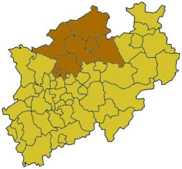 Map of North Rhine-Westphalia highlighting the  Regierungsbezirk of Münster