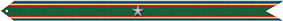A green streamer with red, gold, and blue horizontal stripes along the top and bottom with one silver star in the center
