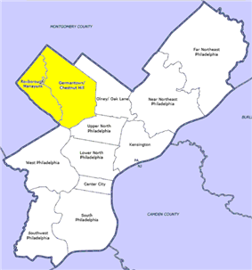 Map of Philadelphia County with Northwest highlighted neighborhood. Click for larger image.