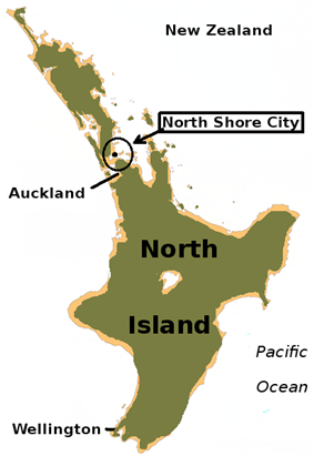 North Shore City within the North Island of New Zealand