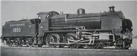 Official side view of a 2-6-0 locomotive against a white background. The distinguishing feature from normal Nclass locomotives is the experimental motion that powers the wheels.