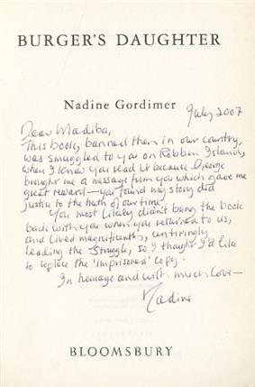 Title page of Burger's Daughter with a hand-written inscription by Nadine Gordimer addressed to Madiba (Nelson Mandela)