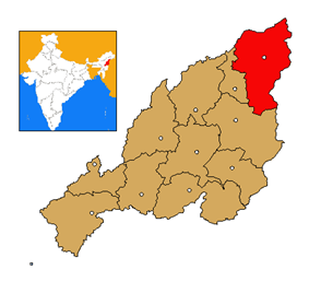 Mon district's location in Nagaland
