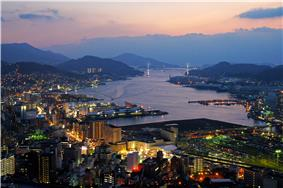 Nagasaki's waterfront area