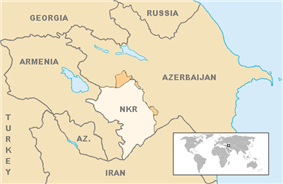 Map showing Nagorno-Karabakh in Azerbaijan