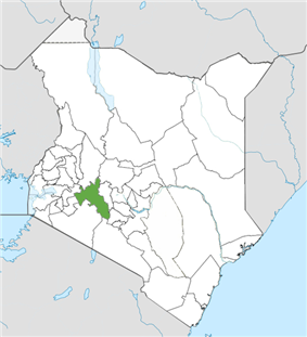 Location of Nakuru County (Green)