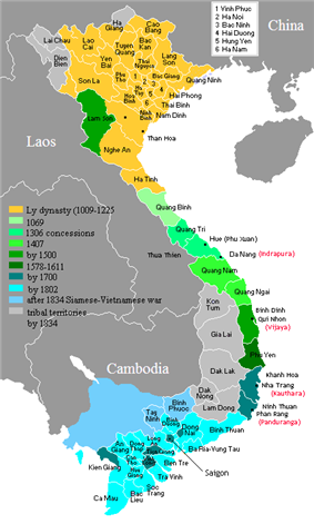 Map of Vietnam showing the conquest of the south (the Nam tiến, 1069-1757).