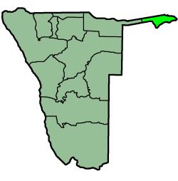 The Zambezi Region (light green) in Namibia