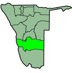 Location of the Hardap Region in Namibia