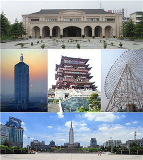 Clockwise from top: New Fourth Army Headquarter, Star of Nanchang, Bayi Square, Nanchang sunrise, Tengwang Pavilion.