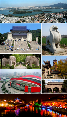 Clockwise from top: 1. the city, Xuanwu Lake and Purple Mountain; 2. stone sculpture