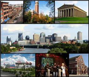 From top left: 2nd Avenue, Kirkland Hall at Vanderbilt University, the Parthenon, the Nashville skyline, LP Field, Dolly Parton performing at the Grand Ole Opry, and Ryman Auditorium