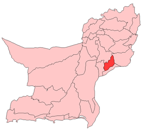 Map of Balochistan with Nasirabad District highlighted