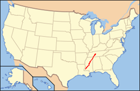 Map showing the location of Natchez Trace Parkway