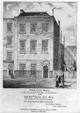 Drawing of a three storied building, seen from the street. Women in long dresses date the picture.