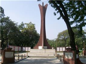 The National War Memorial Southern Command is made out of red stone