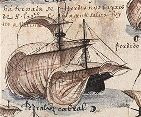 An old painting depicting a wooden sailing ship with sails full blown by the wind