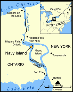 Map showing location of Navy Island