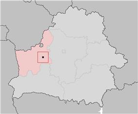 Location of Navahrudak, shown within the Hrodna Voblast