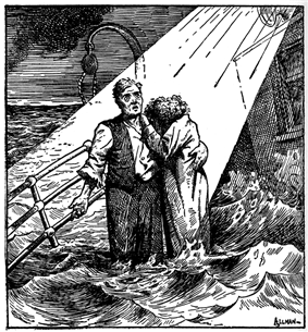 Cartoon depicting a man standing with a woman, who is hiding her head on his shoulder, on the deck of a ship awash with water. A beam of light is shown coming down from heaven to illuminate the couple. Behind them is an empty davit.
