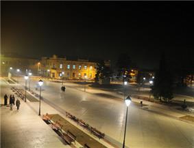 Town center of Negotin at night