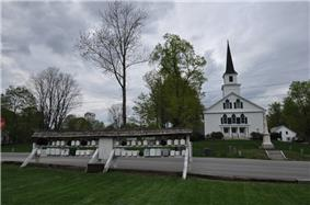 Nelson Community Church and the town's iconic row of mailboxes