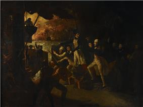 the quarterdeck of a ship, with many sailors moving about. In the centre stands a man in an officer's uniform with a bandage around his head. He is looking to the left of the picture, where in the background a large ship is on fire.
