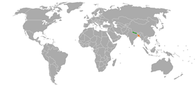 Map indicating locations of Nepal and Bangladesh