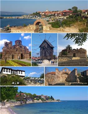 From top left: Northern harbour, Church of Christ Pantokrator, The wooden windmill on the isthmus, Church of St John Aliturgetos, Old house and town walls, Church of St Sophia, Southern bay of the old town