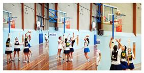 A junior netball game in Australia.