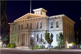 Carson City Mint at night