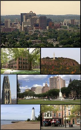 Montage of New Haven from files scattered around WorldHeritage. Clockwise from the top are the Downtown New Haven skyline, East Rock Park, summer festivities on the New Haven Green, shops along Upper State Street, Five Mile Point Lighthouse, Harkness Tower, and Connecticut Hall at Yale.