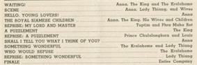 Detail of page 15 from a theatre program showing a partial song list that includes the songs