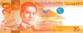 Philippine twenty peso bill (Obverse)