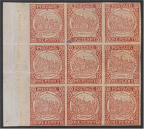 Penny stamps from New South Wales, block of nine (1850)