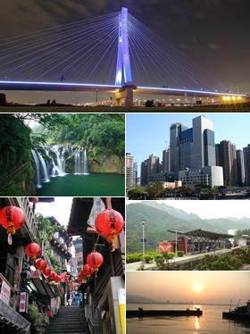 Clockwise from top: New Taipei Bridge, Banqiao District, Pingxi Line, Tamsui River, Jiufen, Shifen waterfall