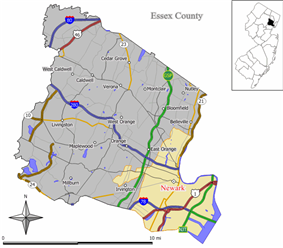 Map of Newark in Essex County. Inset: Location of Essex County highlighted in the State of New Jersey.