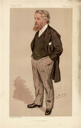Drawing of a heavily-bearded man, hands in pockets, wearing a black tailed coat, striped trousers, waistcoat and watch chain.