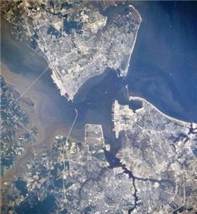 Newport News, Hampton, Portsmouth and Norfolk, Virginia. Hampton is top right