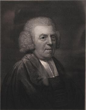 Engraving of an older heavyset man, wearing robes, vestments, and wig
