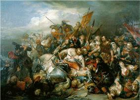 The Battle of the Golden Spurs (1836) painting by Nicaise de Keyser