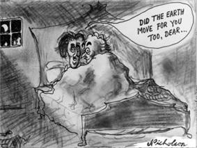 A cartoon showing a man and a woman in bed together with balloon caption