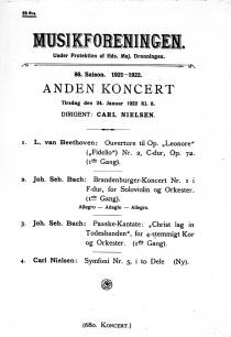 Poster advertising a concert programme at Musikforeningen with items by Beethoven, Bach, and lastly Nielsen's fifth Symphony, 1922