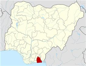 Map of Nigeria highlighting Akwa Ibom State