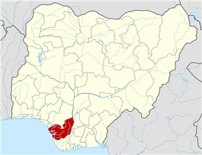 Map of Nigeria highlighting Delta State